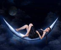 луна девушки Стоковая Фотография RF