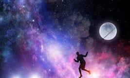 Луна женщины заразительная Мультимедиа стоковое изображение rf