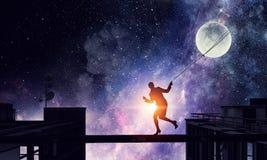 Луна женщины заразительная Мультимедиа Стоковые Изображения RF