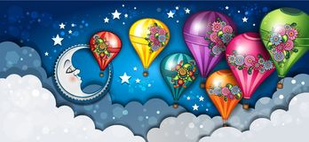 Луна знамени и горячие воздушные шары флористические Стоковая Фотография RF