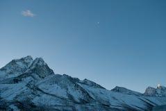 Луна и горы Стоковое Фото