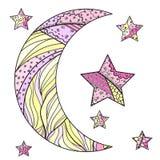 Луна и звезда Zentangle иллюстрация вектора