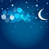 Луна и звезды в ночном небе. Стоковые Фото
