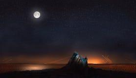 Луна и звезды в пустыне с абстрактными линиями Стоковые Изображения RF