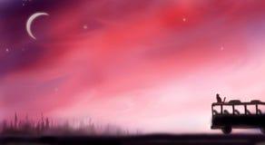 Луна и кот захода солнца на шине Стоковая Фотография RF