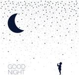 Луна и младенец мечтать Спокойная ночь вектор наличных дег e eps8 наслоенный иллюстрацией бесплатная иллюстрация