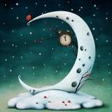Луна и часы иллюстрация вектора