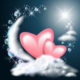 Луна и 2 сердца на облаках бесплатная иллюстрация