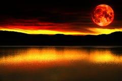 Луна красного цвета крови стоковая фотография rf