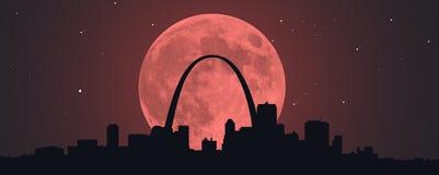 Луна крови красная над STL Стоковые Фотографии RF