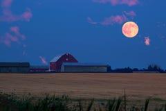 Луна крови поднимая от фермы (к северу от Торонто) Стоковое фото RF