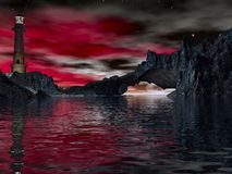 луна маяка Стоковая Фотография RF