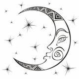 Луна месяц Старый астрологический символ гравировка Стиль Boho этническо Символ зодиака Эзотерическое мистическое расцветка иллюстрация штока