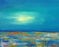 Луна над красочным морем стоковое фото rf