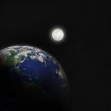 Земля луны и планеты в космосе иллюстрация штока
