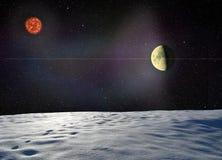 Луна накаляя около поверхностной неизвестной планеты Стоковые Фото
