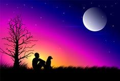 Луна на сумраке иллюстрация штока