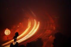 луна освещенная скоростным шоссе Стоковые Фото