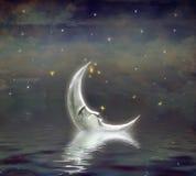 Луна отражена в волнистой воде бесплатная иллюстрация