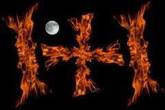 луна пламени пожара cros польностью изолированная Стоковые Изображения