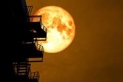 Луна полной крови над случаем лестницы силуэта и красочным небом бесплатная иллюстрация