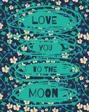 Луна приветствию валентинки Стоковые Изображения