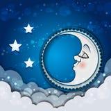 Луна спать в облаках и звездах Стоковые Фотографии RF