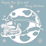 Луна, спрус, древесина, сани, северный олень вектор Вырезывание прокладчика клише Изображение с надписью - веселым рождеством бесплатная иллюстрация