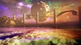 Луна с астероидными кольцами на горизонте планеты чужеземца иллюстрация штока