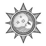 Луна с звездами - иллюстрация вектора стилизованная как гравировка иллюстрация вектора