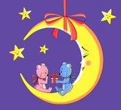 Луна с плюшевыми медвежоатами Стоковое Изображение