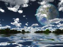 Луна Terraformed от земли или другой планеты Стоковая Фотография RF