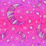 Луна Zentangle и картина звезд Стоковое Изображение