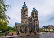 Лунд - 21-ое октября 2017: Готический собор Лунда, Швеции стоковое фото