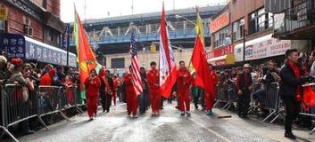 Лунный парад Нового Года 2014 в Манхаттане, NY Стоковая Фотография