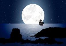 Лунный свет с парусником Стоковое фото RF