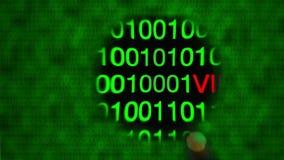 Лупа двигая налево к праву, нулям и одним, зеленому цвету, красным письмам вируса бесплатная иллюстрация