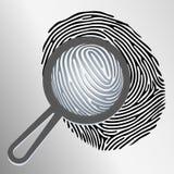 Лупа и отпечаток пальцев вектора иллюстрация штока