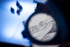 Лупа и scetch Стоковое Изображение RF