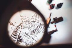 Лупа и scetch Стоковая Фотография RF