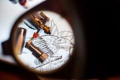 Лупа и scetch Стоковое фото RF