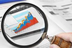 Лупа над финансовой диаграммой Стоковые Изображения