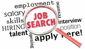 Лупа поиска работы получает нанятой находке открытую вакансию 3d Illu Стоковое Фото
