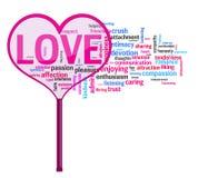 Лупа сердца форменная на словах влюбленности Стоковая Фотография