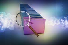 Лупа с папкой файла Стоковая Фотография RF