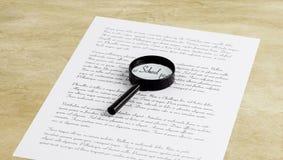 Лупа увеличивая школу слова на странице с printe стоковое изображение rf