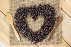 Лучи кофе формы сердца Стоковые Изображения RF
