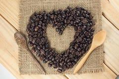 Лучи кофе формы сердца Стоковое фото RF