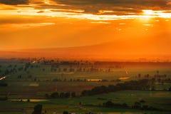 Лучи Солнця над полем Стоковые Изображения