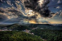 Лучи Солнця горячих источников Стоковые Изображения